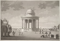 'Mausoleum erecting at Ghazepore, to the memory of the Marquis Cornwallis'.  Aquatint, drawn and engraved by James Moffat, published Calcutta undated.